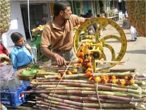 Man selling sugarcane juice