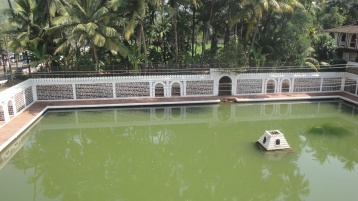An old pond outside a Temple